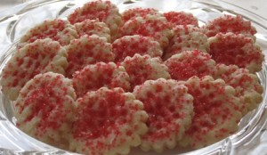 Cream Wafers -single cookies with red sugar