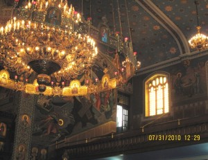 Chandlier and upper level of St.Nicholas Ukrainian Catholic Church in Toronto, Canada