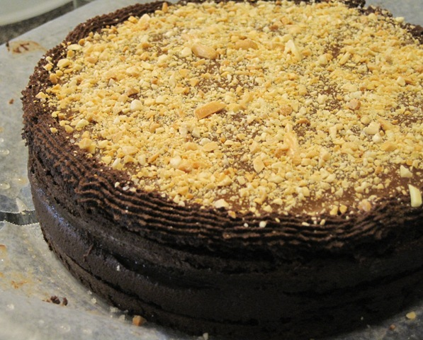Chocolate cake with Fleur De Sel Caramel Filling - first caramel layer ...