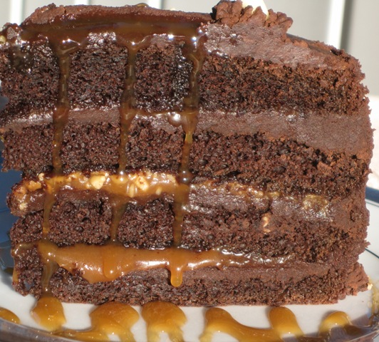 Chocolate cake with Fleur De Sel Caramel Filling- serving piece by ...
