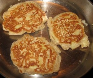 Homemade apple pancakes - done on one side