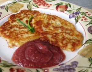 Irish Potato Pancakes - served with mixed fruit apple sauce