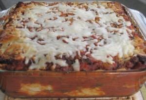 Vegetarian Matzoh Lasagna fully baked