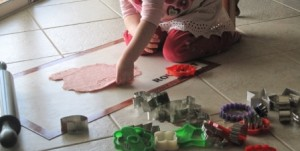 Making playdough - cutting out shapes