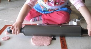 Making playdough - rolling the dough