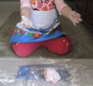 Making playdough - second step - forming the dough 3