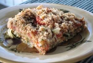 Zucchini casserole serving