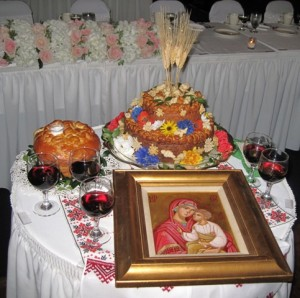 Traditional Ukrainian Wedding Greeting Table display