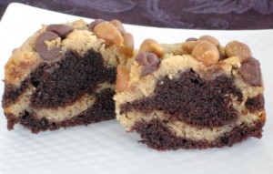 January cupcakes - Chocolate Peanut Butter - cross section