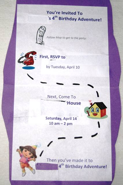 Dora theme birthday party invitation inside view filmwisefo