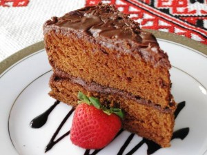 March treats - Chocolate Rum Cake - serving piece