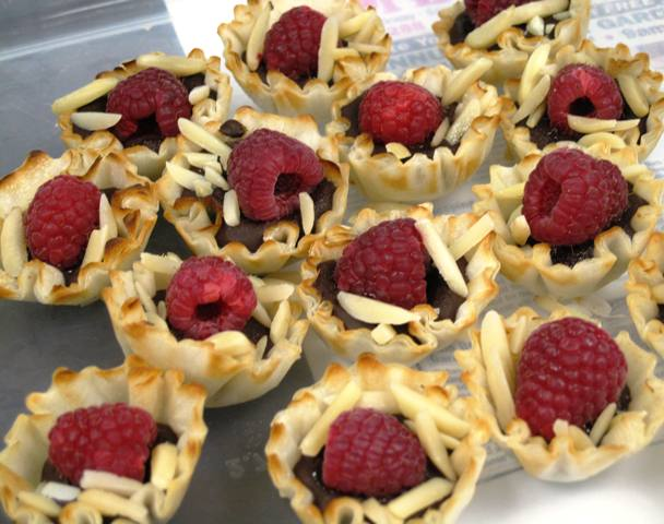March treats - Phillo Pastry cups with chocolate and raspberries