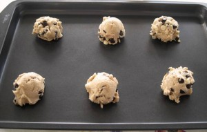 Chewy Chocolate Chip Cookies spaced out for baking