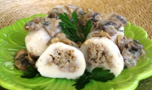 Stuffed gnocchi  - seved with mushroom sauce
