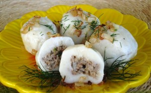 Stuffed gnocchi  -  with sauteed onions and butter