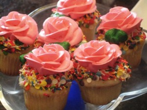 Decadent looking cupcakes - Princess Belle Birthday Party