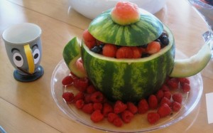 Mrs. Potts - Carved Watermellon Teapot, full of fruits