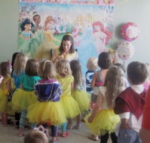 Princess Belle entertained the little princesses with majic bubbles, special wand, and face painting