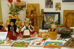 Ukrainian table - children books, dolls, wall decorations