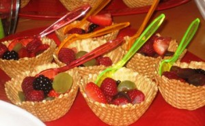 Waffle bowls filled with fresh fruit