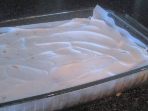 strawberry meringue cake - layer of whipped egg whites