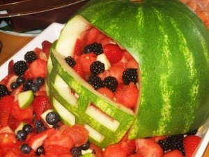 Football Helmet watermellon carving - close up view