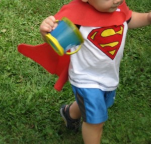One year-old Super Heroe graduated to the traditional cape look
