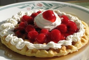 Buttermilk Waffles with Cherries – Recipe