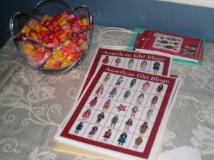 Bowl of candy and fun American Girl Doll Bingo cards game