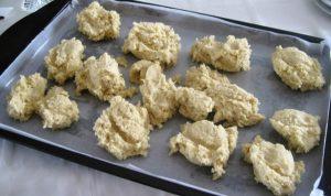 Spooning dough onto baking sheet