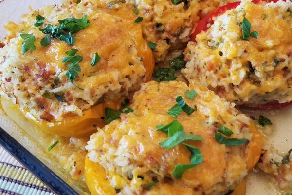 Stuffed Peppers with  Rice and Ham